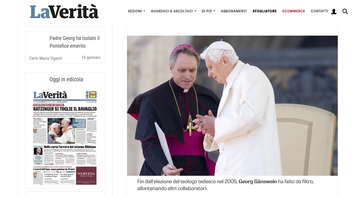 Archbishop Viganò: The hour has come to clarify the role of Gänswein