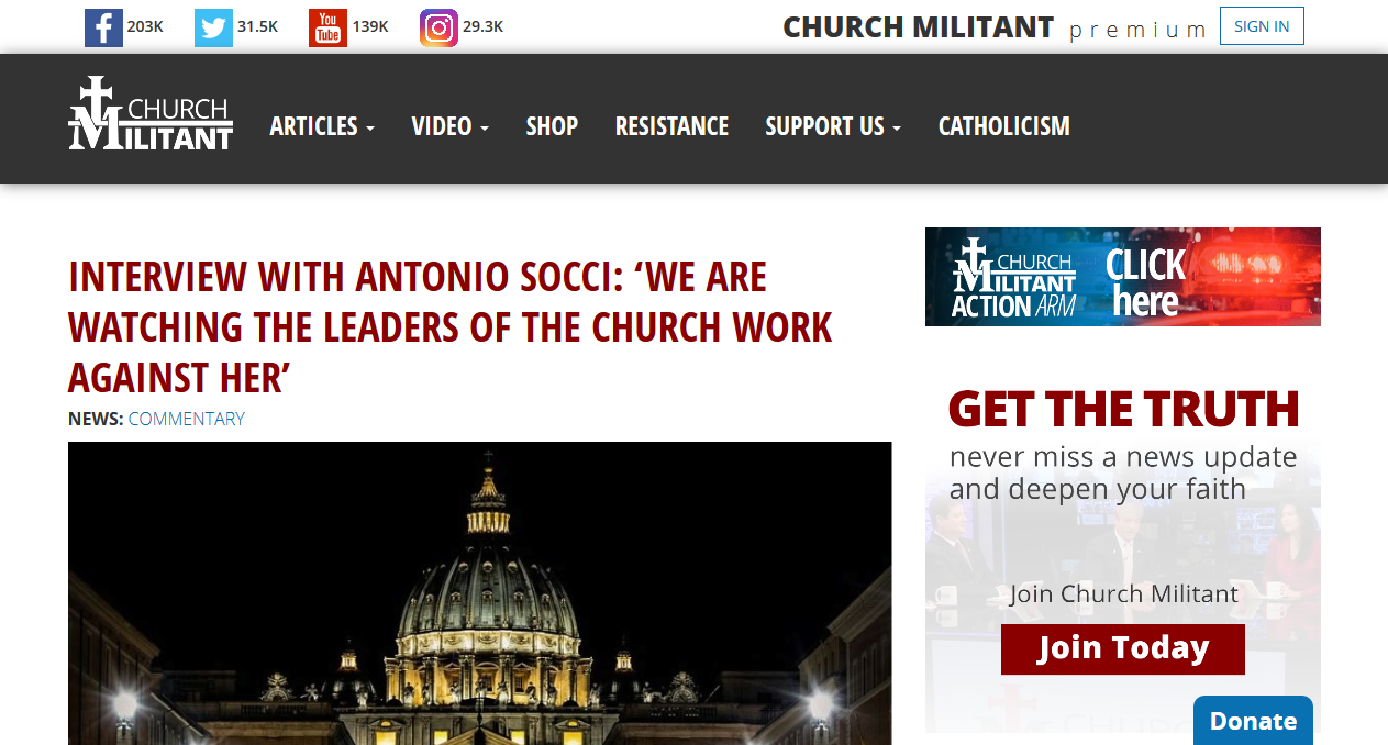 Has Michael Voris joined the PPBXVI Movement?