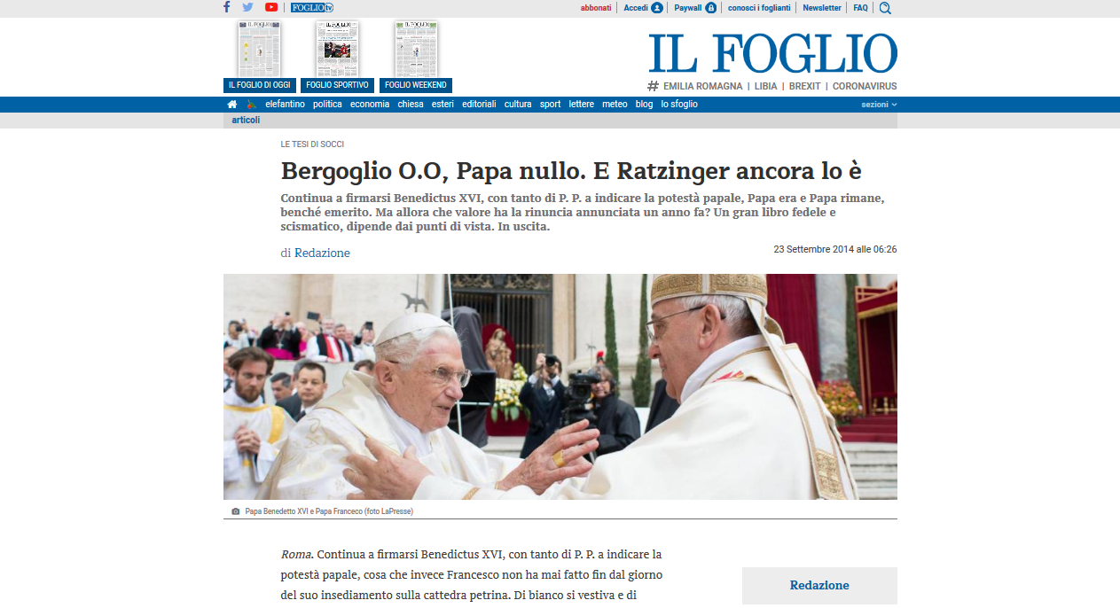 Major Italian Newspaper: Benedict still signs P.P., he retains the Papal power