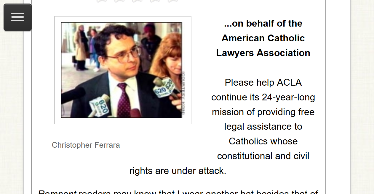 Does Chris Ferrara think he is a judge on the Roman Rota?