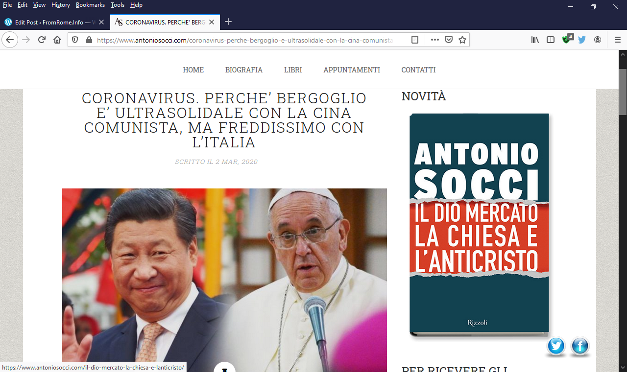Socci: Bergoglio is not acting as the Vicar of Christ, but as an agent of Peking