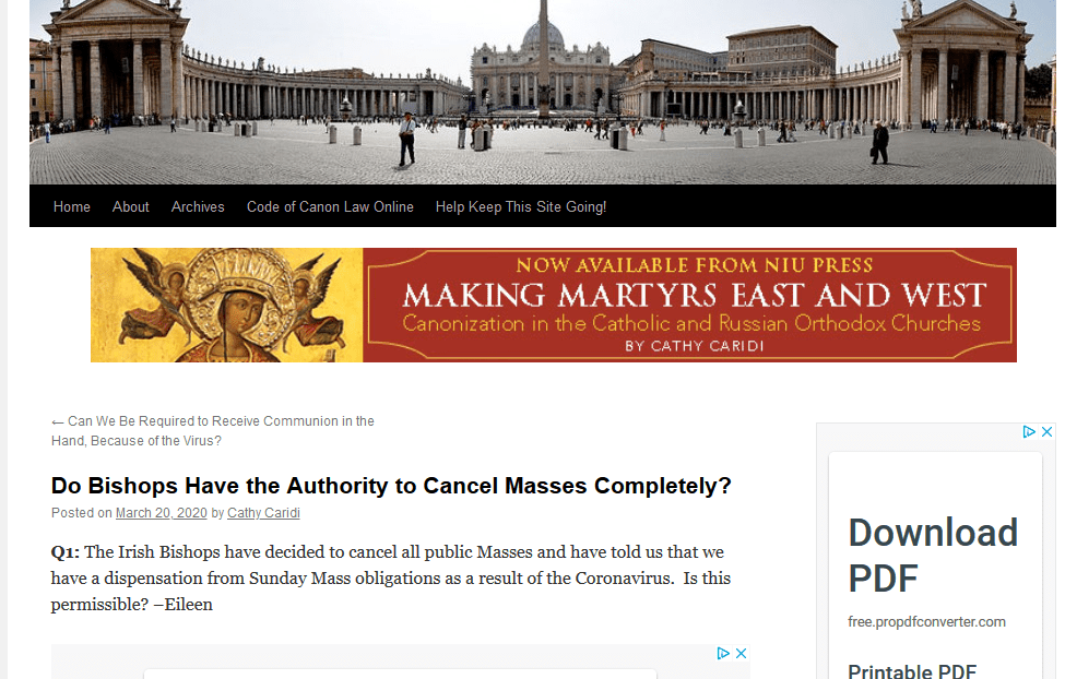 Canon Lawyer at Rome says Priests must disregard orders to cancel public masses