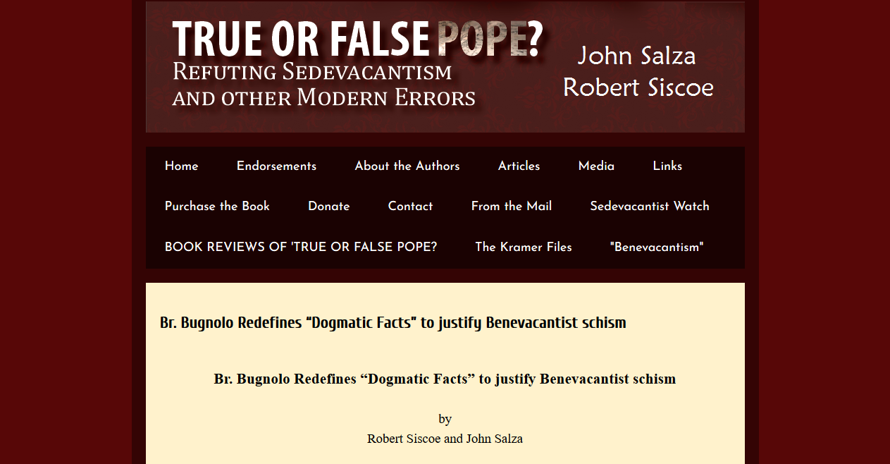 Siscoe & Salza attack Bugnolo on Dogmatic Facts — He replies