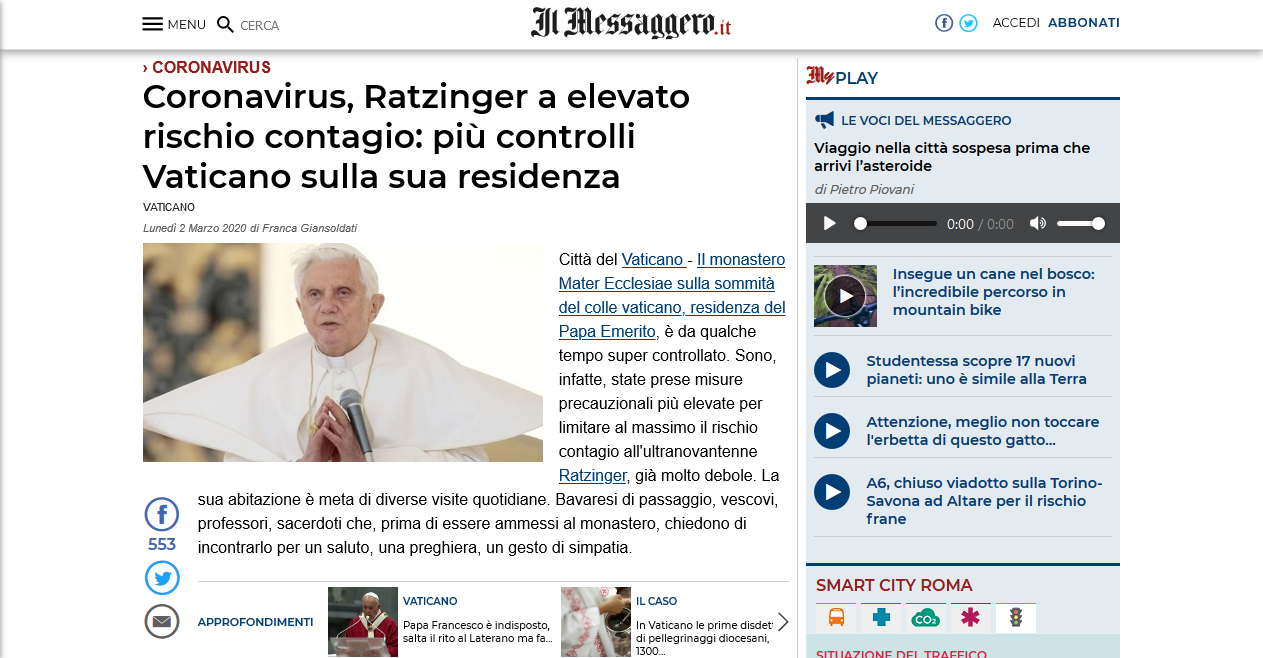 Leading Newspaper at Rome shows Benedict XVI as Pope in news report