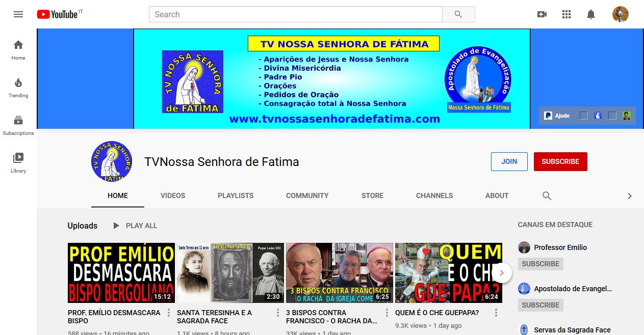In Brazil TV Nossa Senhora de Fátima proclaims that Pope Benedict XVI is the true pope