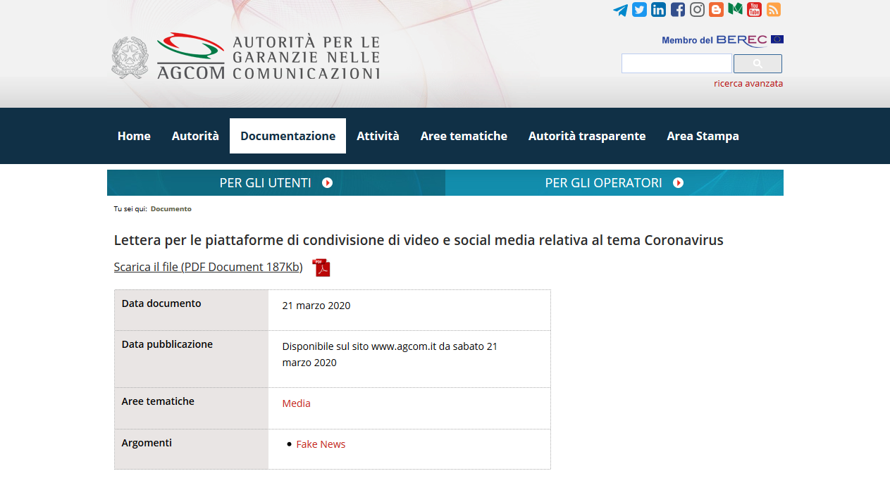 As Narrative control slips, Italian government threatens misinformation on Corona