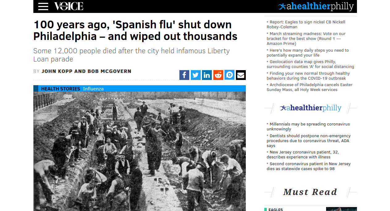 To vindicate the dead: The Spanish Influenza at Philadephia in 1918