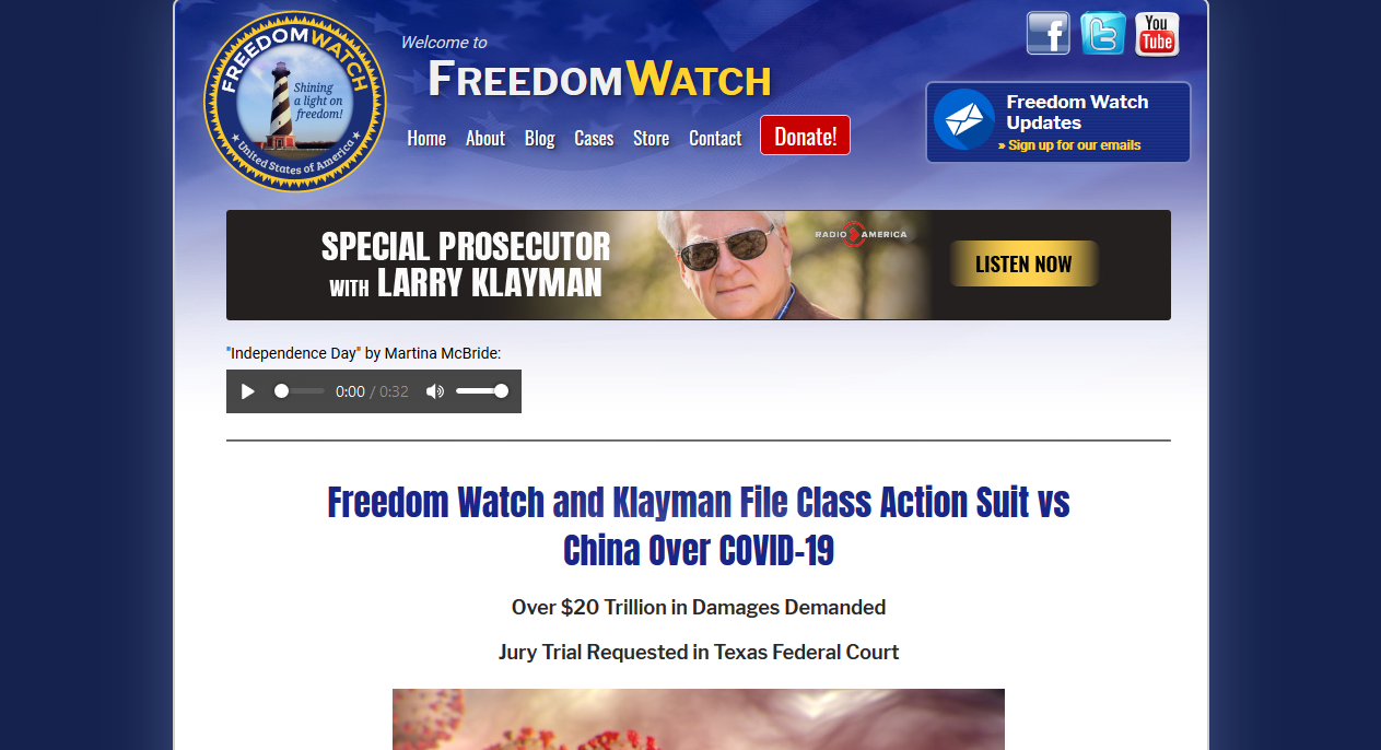 Freedom Watch files class action suit against China for 20 Trillion Dollars over Wuhan Bioweapon COVID-19 damages