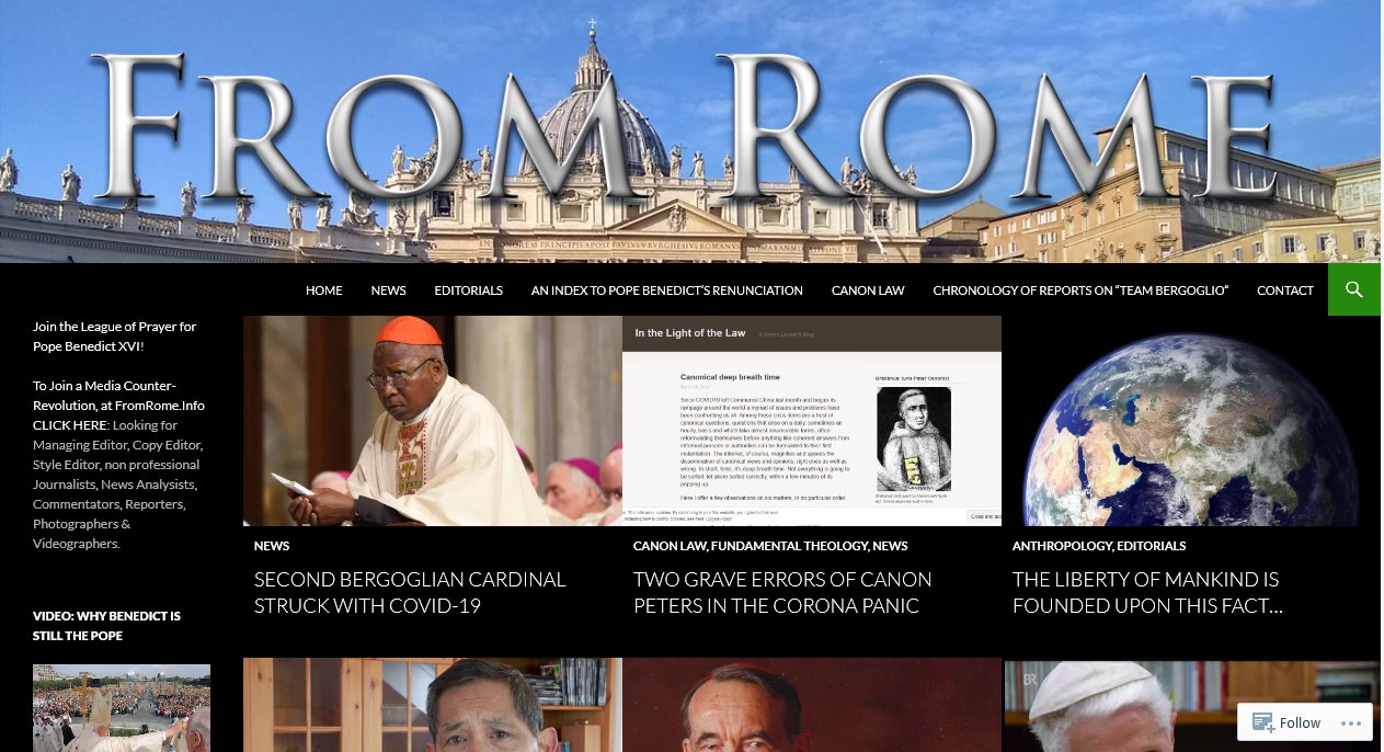 Readership of FromRome.Info increases 65% in March