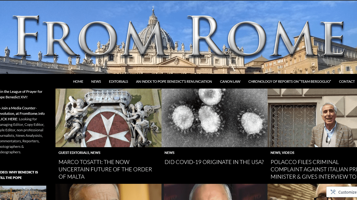 Readership of FromRome.Info increases 265% in April