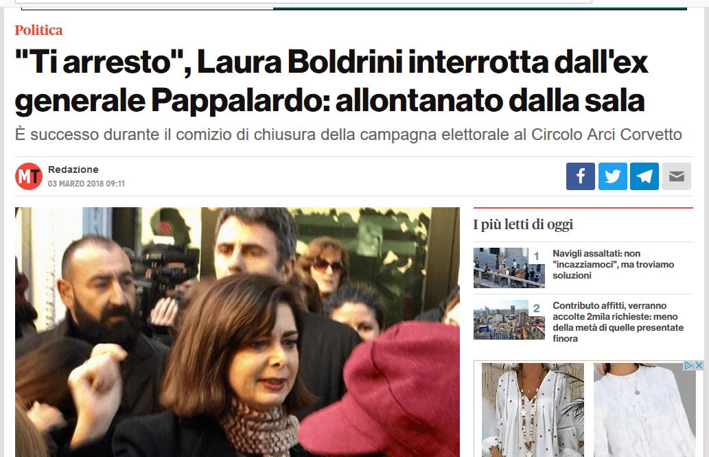 Ti arresto nel nome del Popolo Italiano!