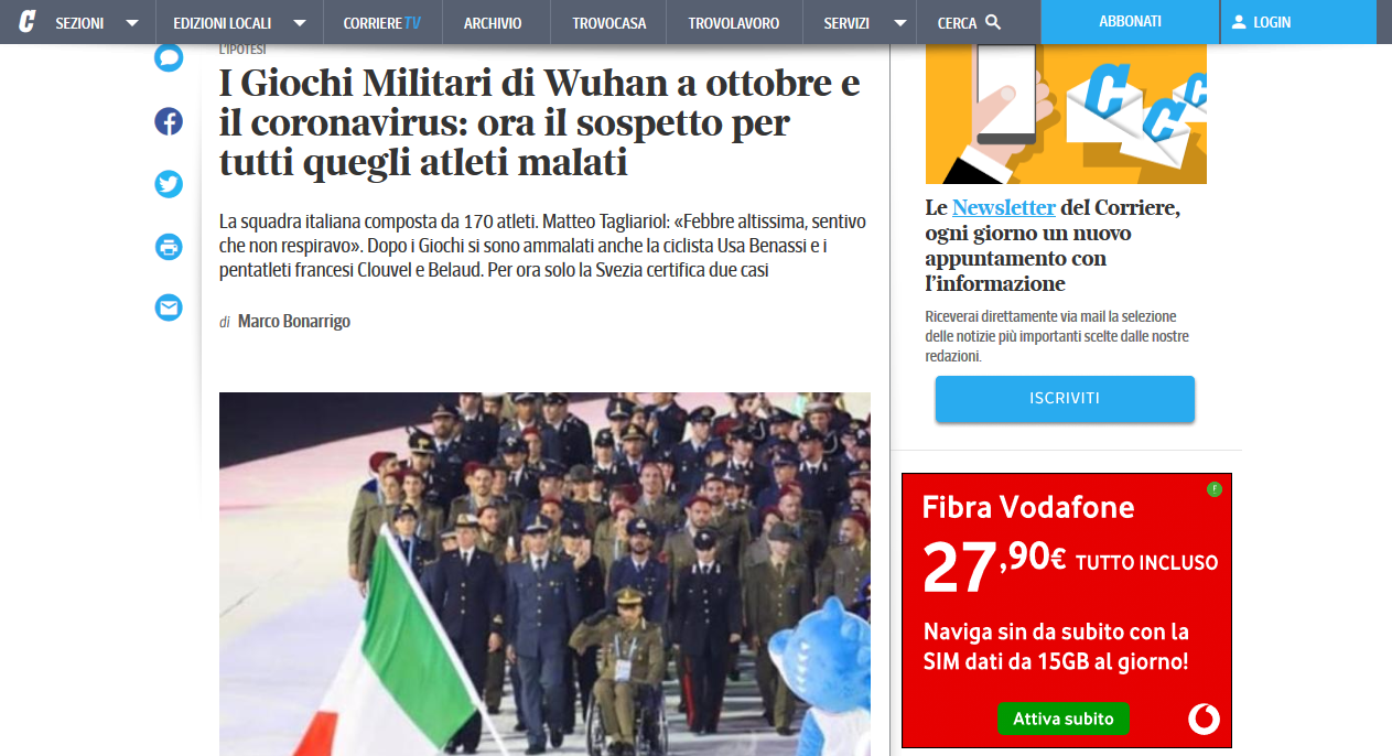 Italian Military Athlete at the Wuhan Games in Oct 2019: We all had a bad flu, like COVID-19