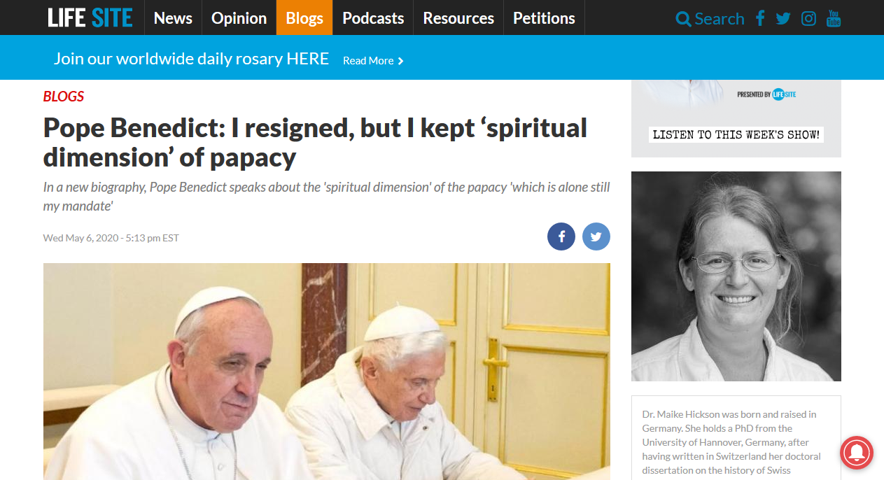 LifeSite news, on the threshold of returning to Pope Benedict XVI