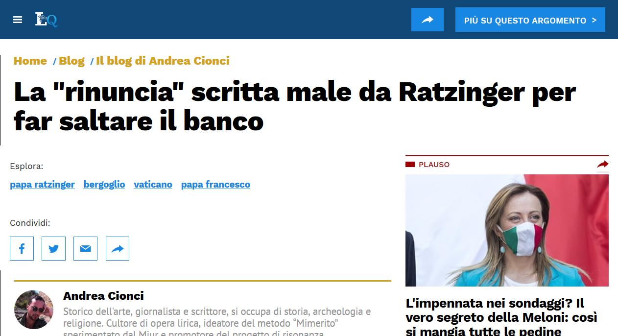 """Andrea Cionci: La """"rinuncia"""" scritta male apposta"""