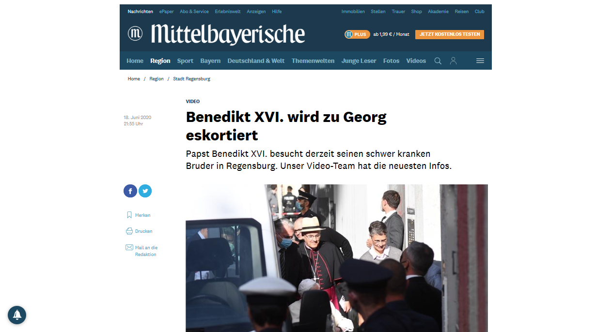 Dr. Reisinger: Pope Benedict XVI is traveling with expert manipulator