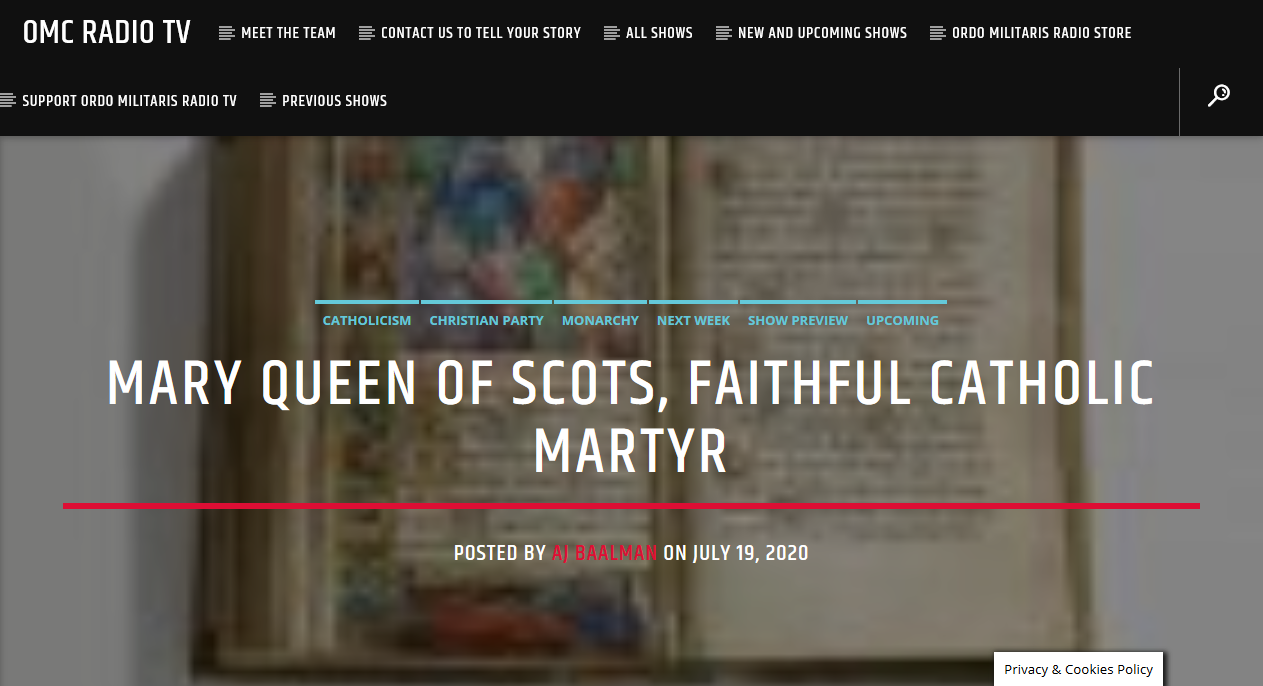 Mary Queen of Scots, Catholic Martyr