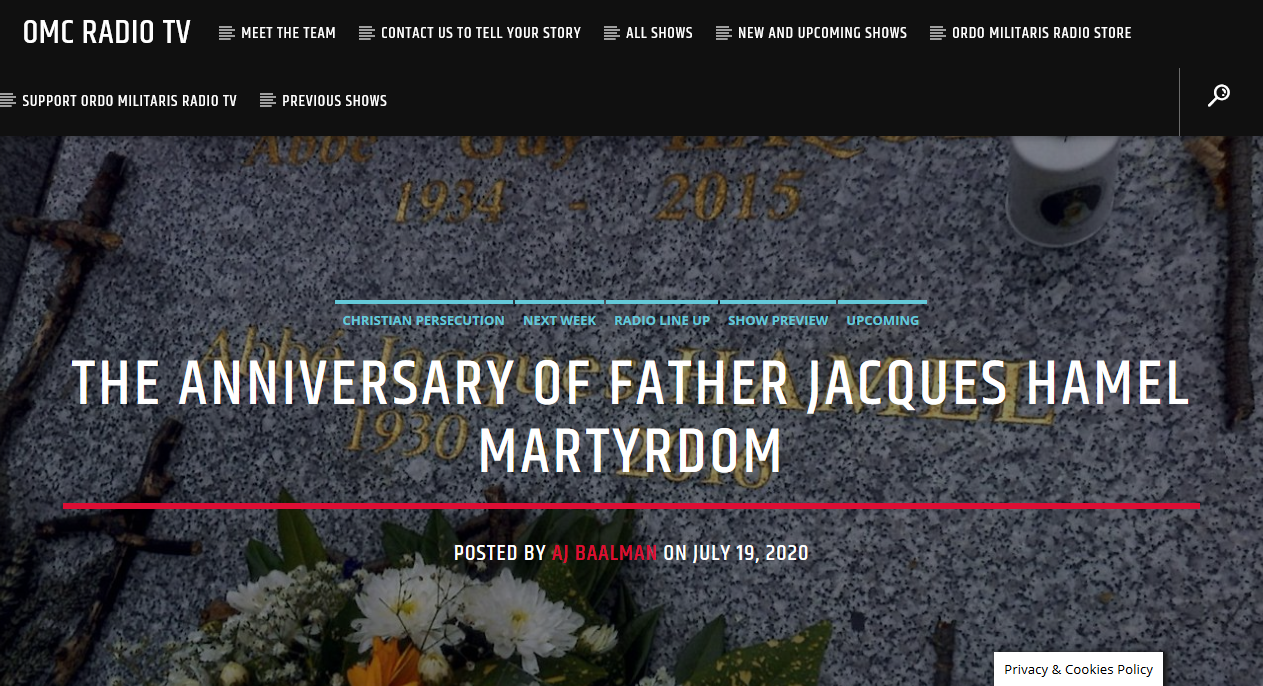 OMC Radio TV: The Martyrdom of Fr. Jacques Hamel