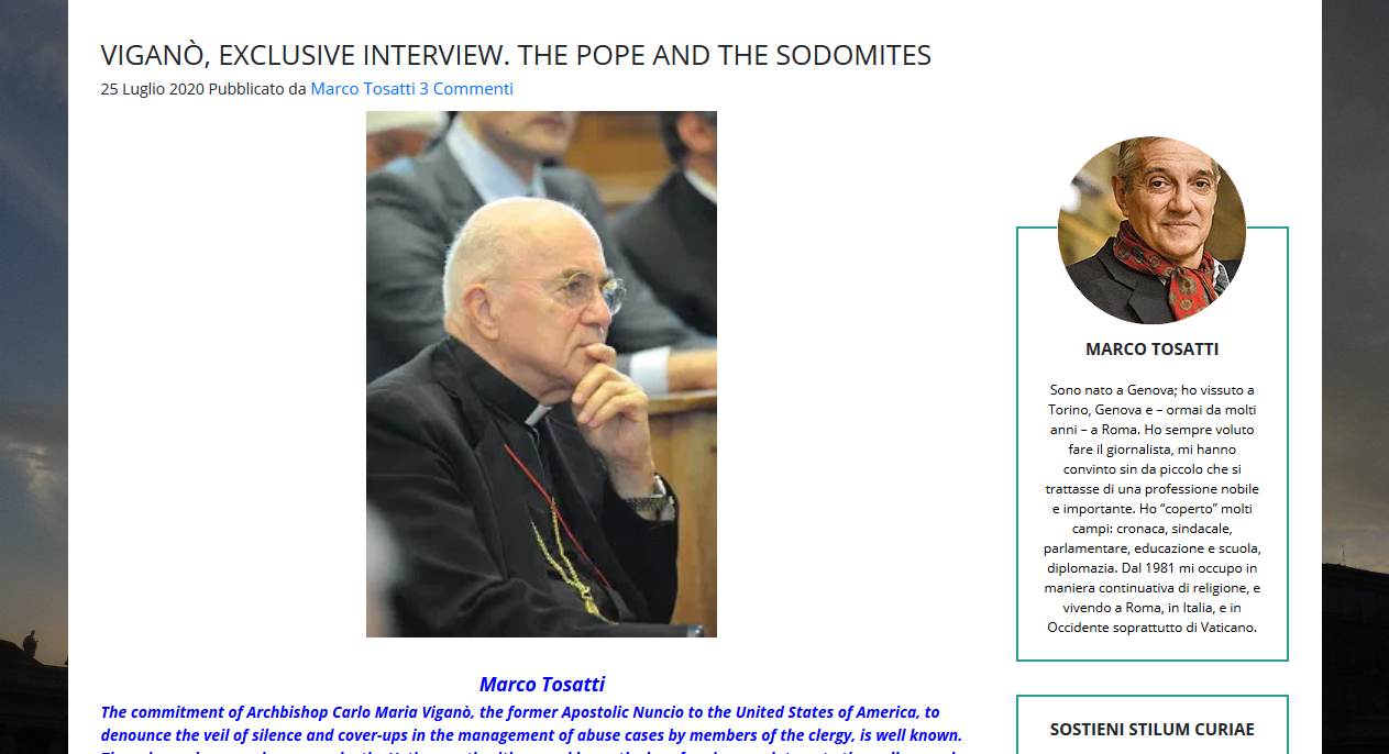 Viganò openly questions whether China forced Benedict to resign, St Gallen Mafia plotted invalid election