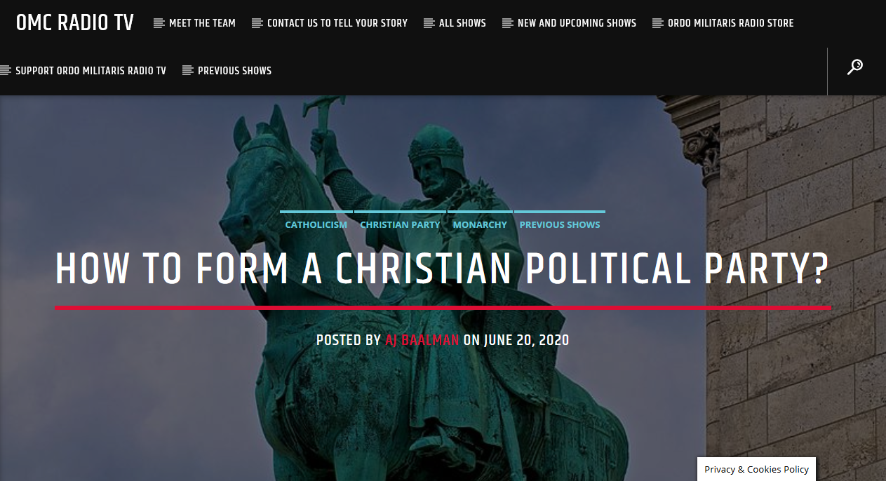 How to form a Christian Political Party