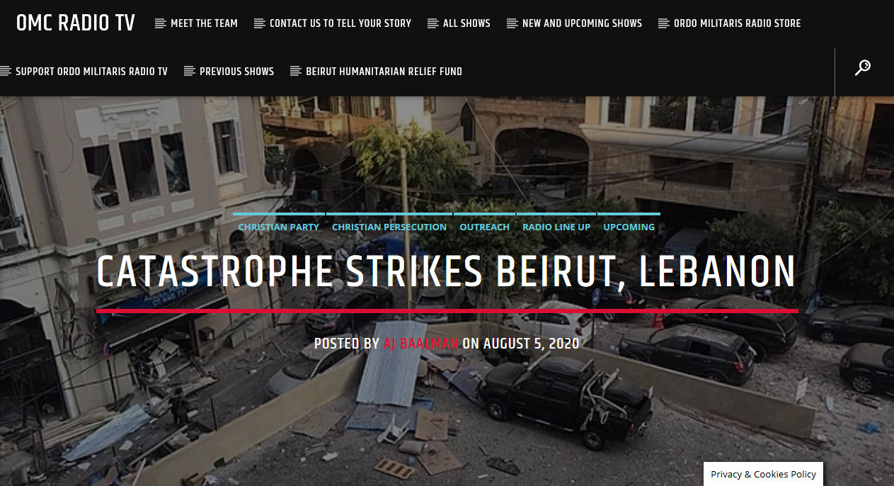 A Catastrophe has struck Beirut