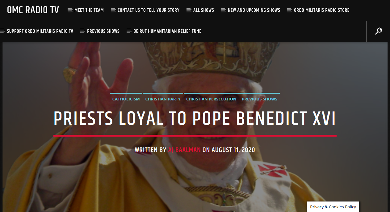 The Priests truly loyal to Pope Benedict XVI