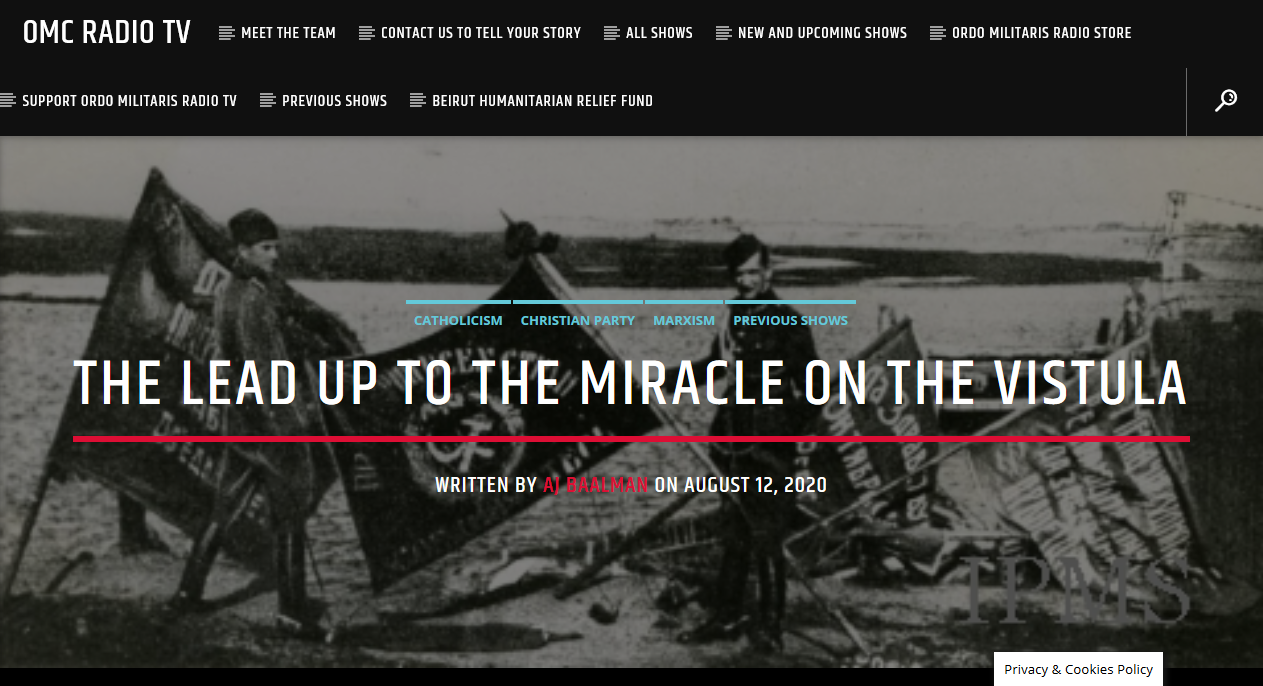 Foreword to the Miracle on the Vistula, Aug. 15, 1920