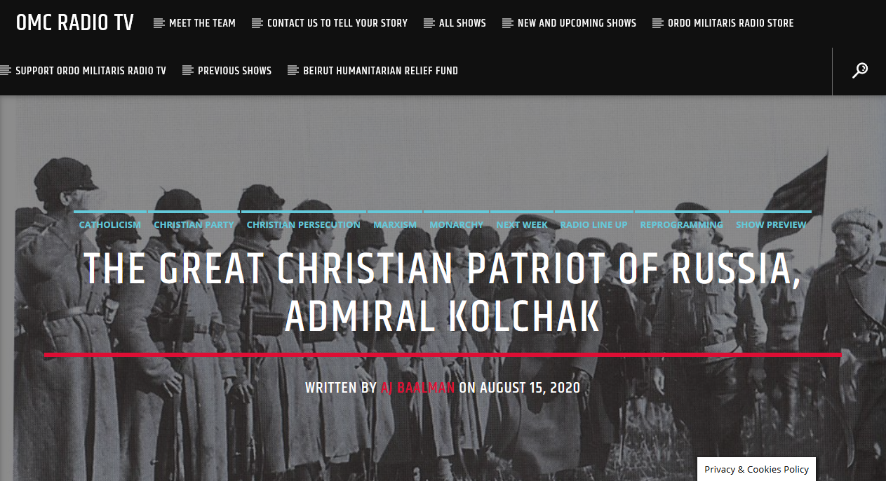 Admiral Kolchak, a great Christian patriot for our Times