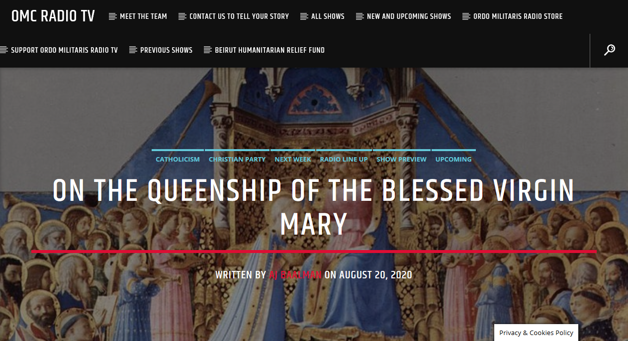 Mary is the Queen of Angels and Men!
