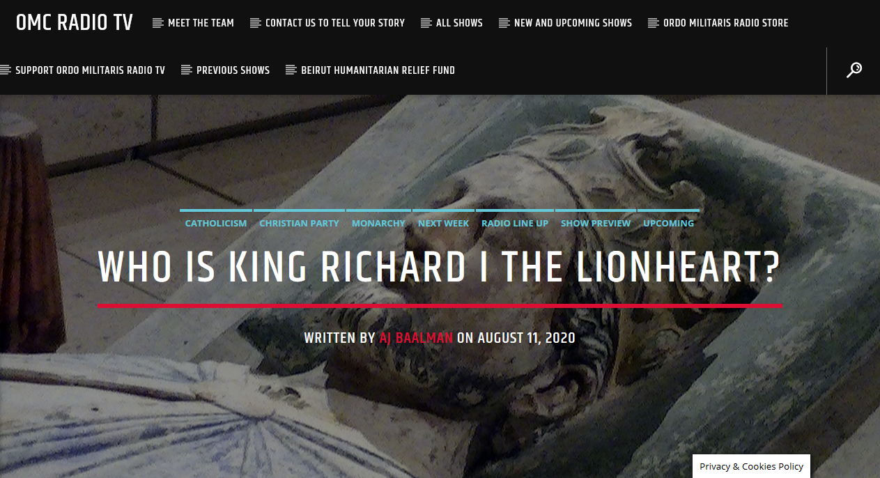 The life of King Richard the Lionheart