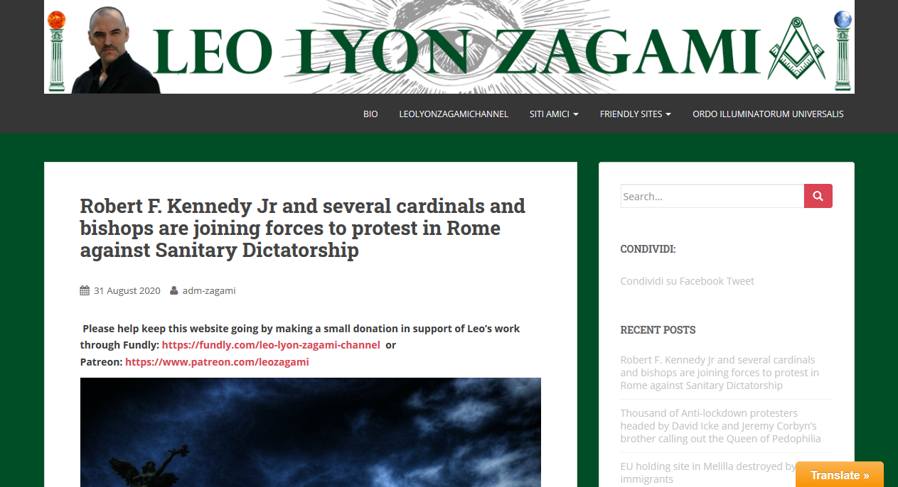 Zagami links American Cardinals to Gladio organized protest at Rome on Sept. 5
