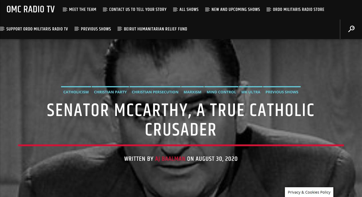 Senator Joe Mc Carthy, Catholic Crusader