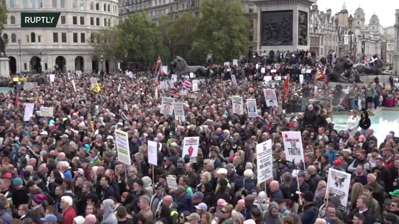 Brits protest Scamdemic again, today at Trafalgar Square, London
