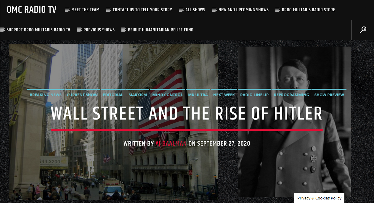 How Wall Street planned and financed the Rise of Hitler