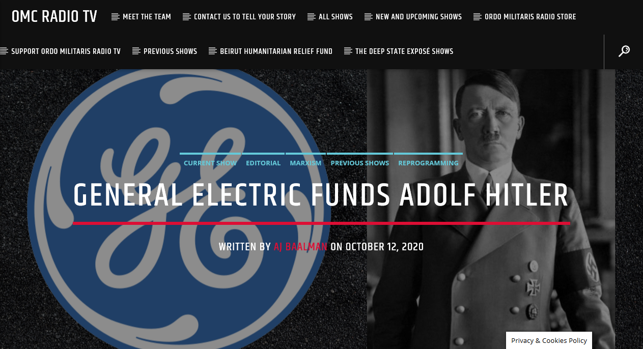 How General Electric prepared & supported Nazi Germany for war