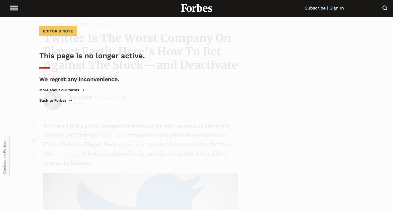 Forbes Magazine bans criticism of Twitter