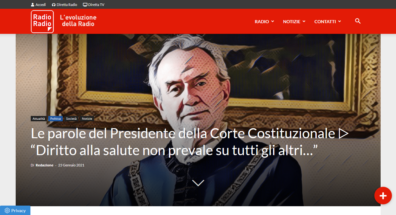 Italy's Chief Justice: Social Media's censure of Trump is intolerable