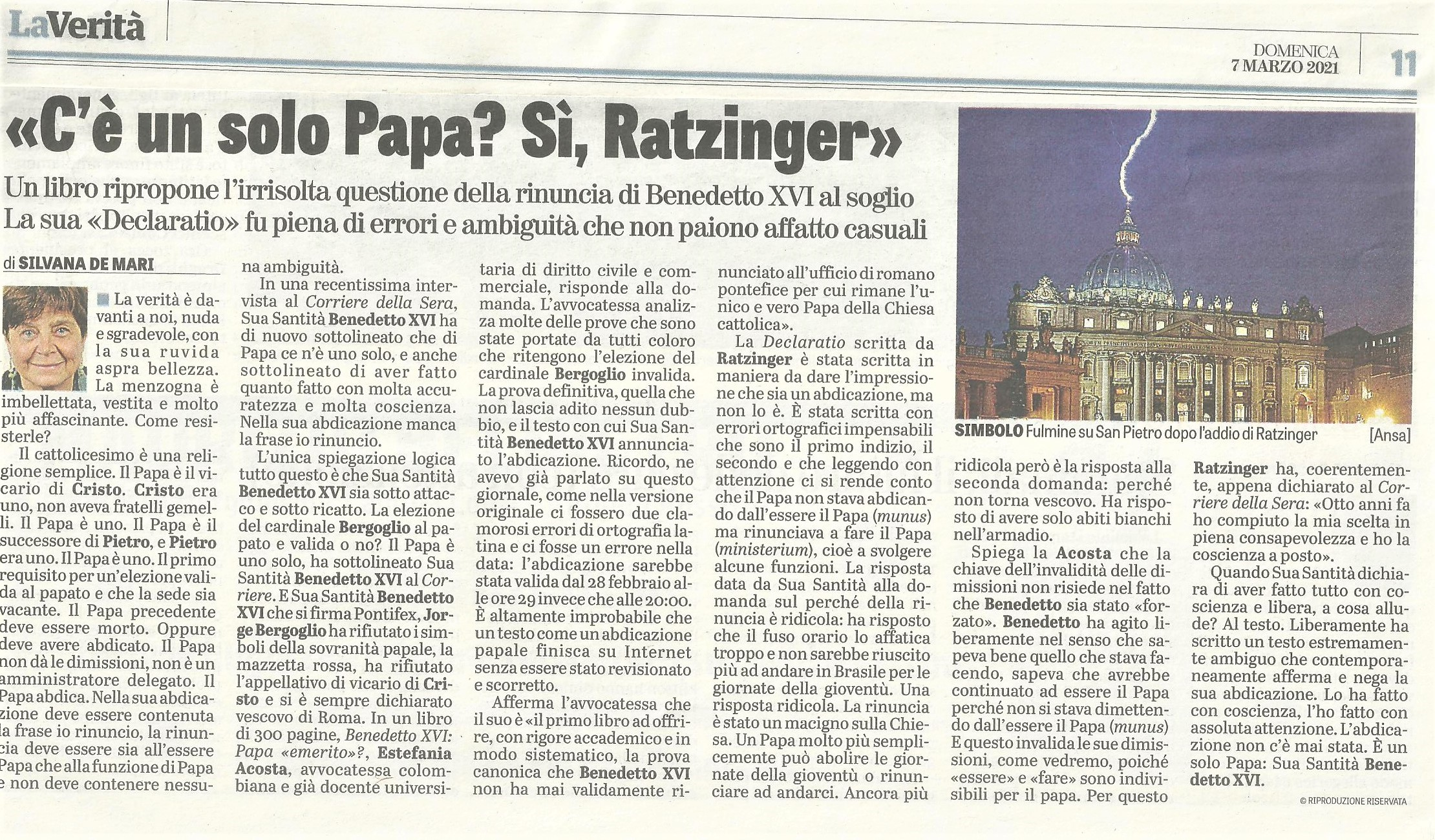 De Mari: There is only one Pope? Yes, Ratzinger!