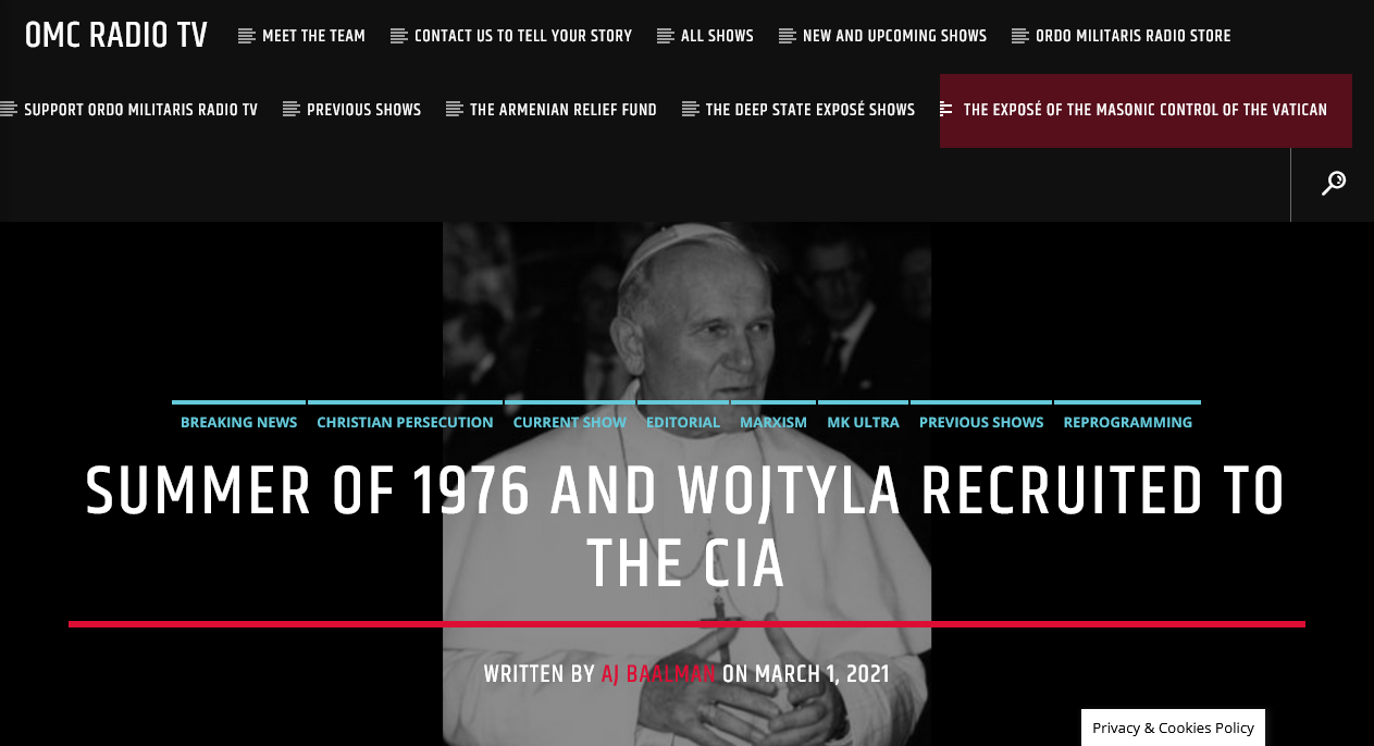 EXPLOSIVE! – The Summer of 1976 & Wojtyla's recruitment by the CIA