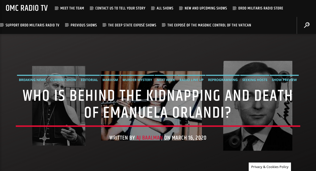 Who kidnapped and killed the 15 yr old, Emanuela Orlandi?