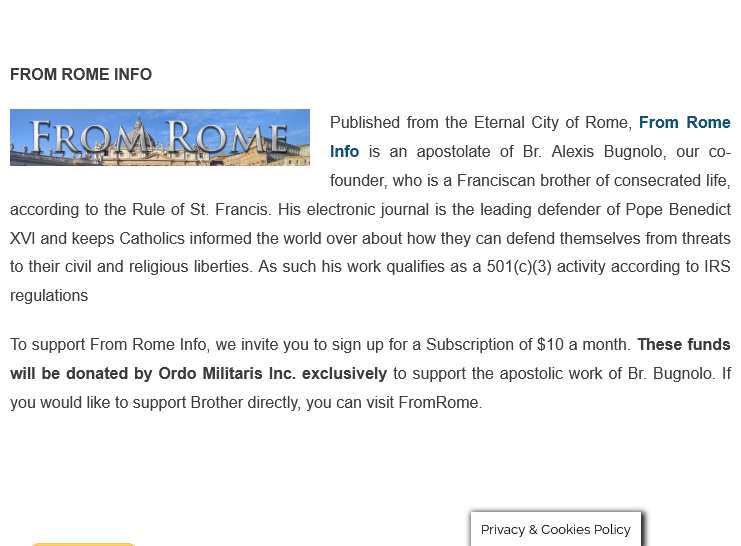 A New Way to Subscribe to FromRome.Info