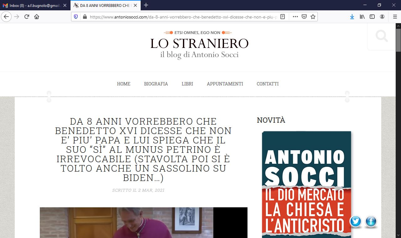 Antonio Socci skewers the Benedict-Bot Interview by Massimo Franco