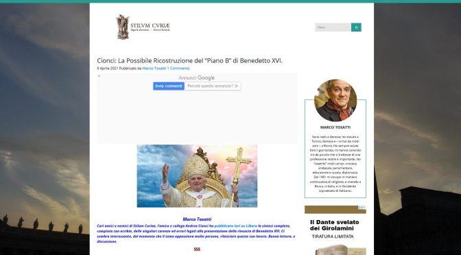 """Tosatti republishes Andrea Cionci's """"Benedict's Plan B"""""""