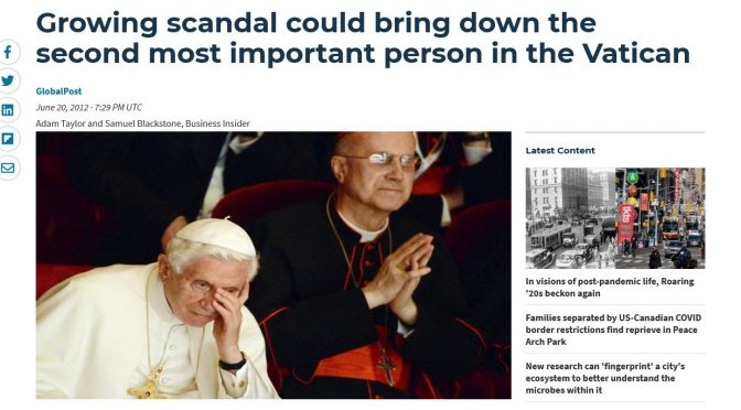 BREAKING: Pope Benedict XVI was allegedly assaulted by Cardinal Bertone during first years of Pontificate