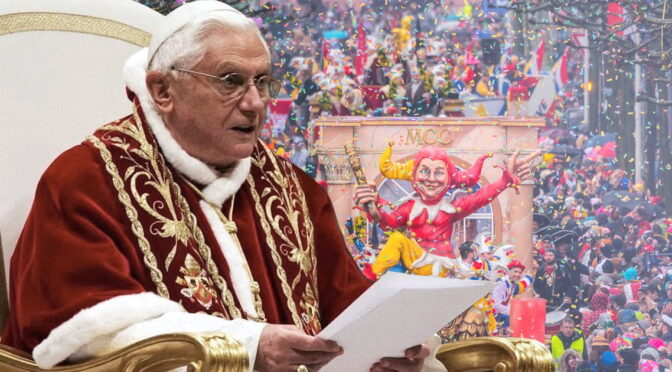 Pope Benedict XVI admits he played a Carnival joke on the Cardinals