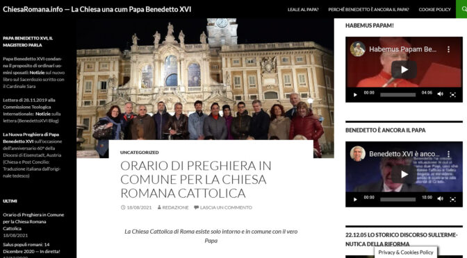 Catholics at Rome, pray in public in Communion with Pope Benedict: Schedule