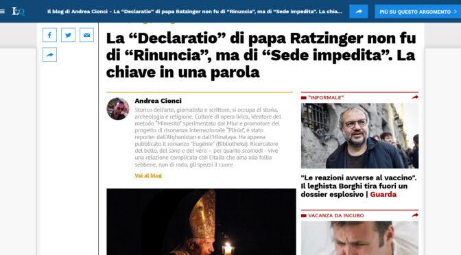 """Andrea Cionci: El Papa no escribió una declaración de renuncia inválida, sino una declaración válida de """"Sede impedida"""""""