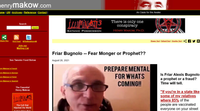 Br. Bugnolo criticized from the USA & Italy for Warning Humanity
