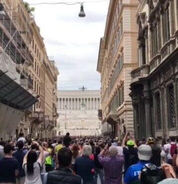 June 2, 2021: Italian Air Force shows the colors, over Via del Corso, Roma