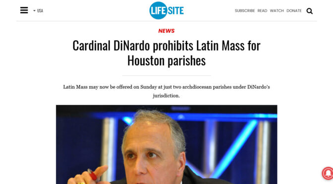 Cardinal DiNardo excommunicates himself, again!