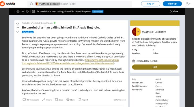 Br. Bugnolo condemned on Reddit for promoting insubordination to Bergoglio